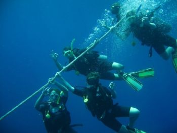 Divers-on-mooring-line-at-Richelieu-Rock-Similan-Islands-Thailand